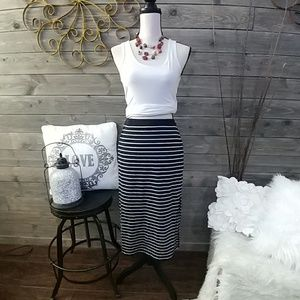 GAP STRETCHY STRIPED CASUAL MAXI SKIRT